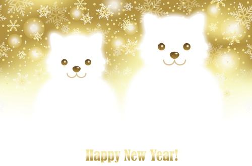年賀状 犬 デザインイラスト 戌年 年賀状印刷の無料フリー素材