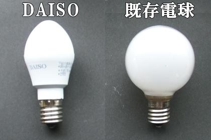 ダイソーLED電球とパナボール電球